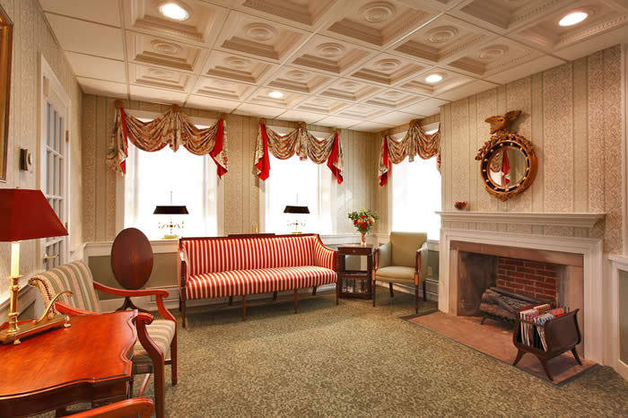 historic federal style swag & jabot window treatment