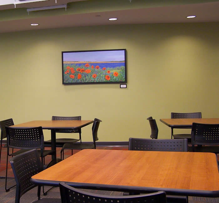 employee cafeteria with oil on canvas poppies art work