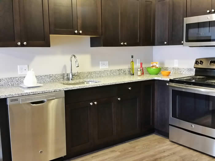 Broadleaf Apt complex kitchen layout with dark cabinets and light counters
