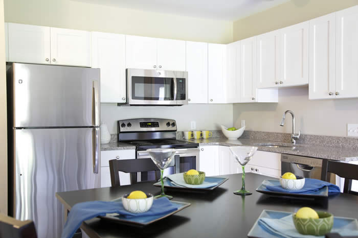 Broadleaf Apt Complex kitchen with white cabinets and darker counters