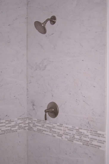 marble and glass mosiac shower