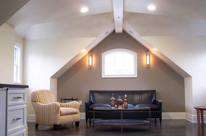 media room lounge in attic space