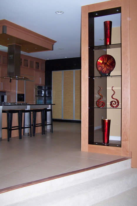 Modern Kitchen and stainless with custom glass shelving