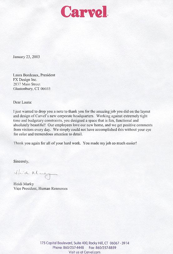 Carvel thank you letter