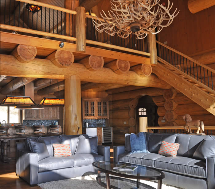 Great room in vermont ski log home