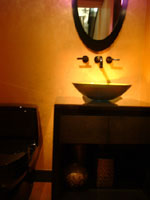 Guest Half Bath with Luminescent Sink vanity