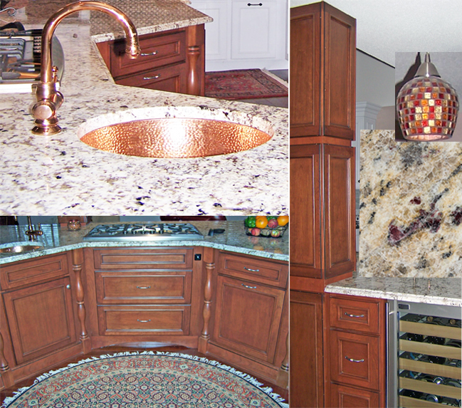 Warm cabinetry with accents of copper & red