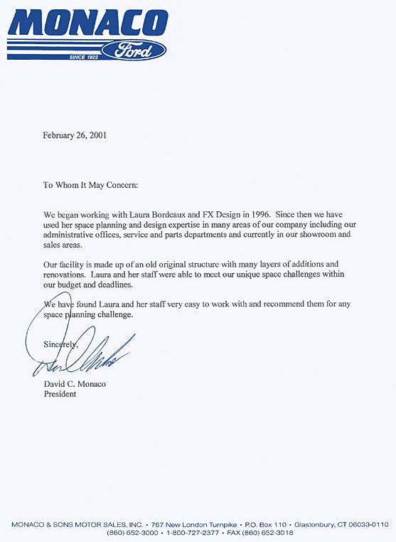 Letter from David C. Monaco recommending FX Design