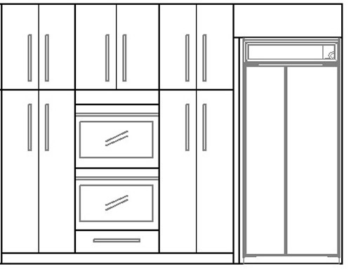 Elevation showing wall of cabinetry around fridge and double oven