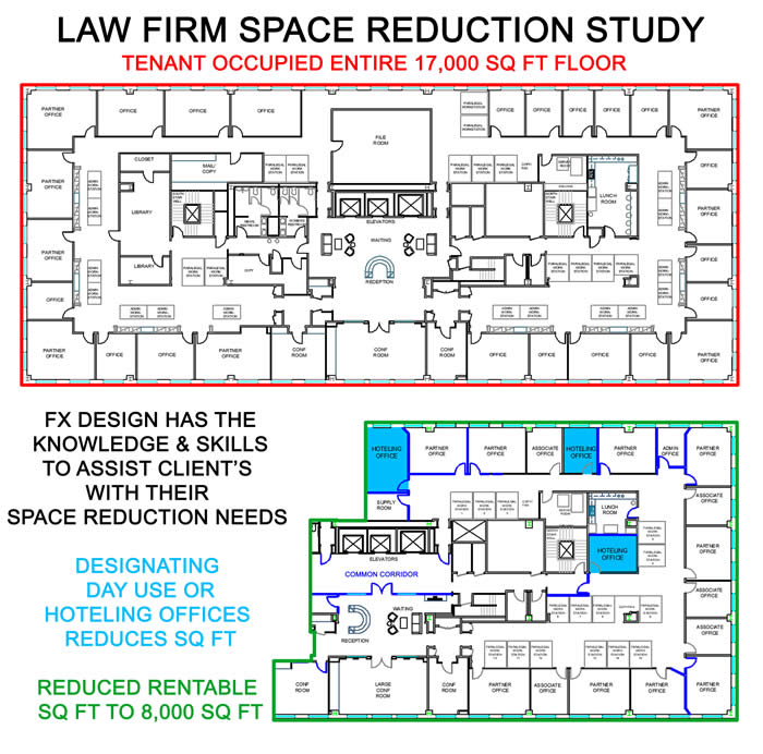 Space Study reduction floorplan showing reduced sq footage