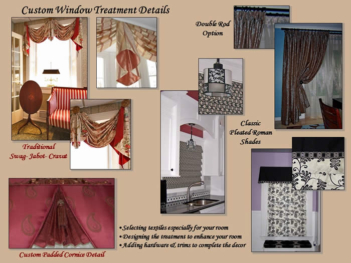 collage of custom window treatment designs